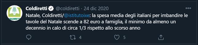 Tweet Coldiretti: la spesa media di natale scende a 82€ per famiglia