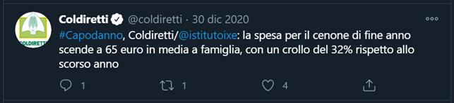 Tweet Coldiretti: la spesa media di capodanno scende a 65€ per famiglia